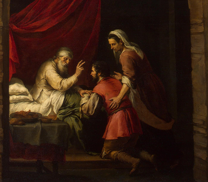 Detail: Isaac Blessing Jacob by Bartolome Esteban Murillo, Public domain